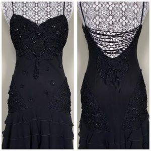 Gorgeous Black Lace Up Dress